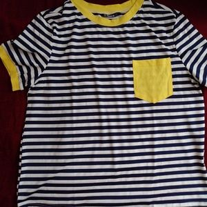 navy blue striped t-shirt with yellow details